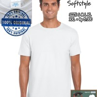 Jual Kaos Baju Gildan Softstyle White 63000 Putih Original GROSIR S M L XL Murah