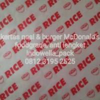 """KERTAS NASI&BURGER MCD/KFC UKURAN 22x27CM MOTIF """"RICE"""""""