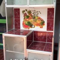 Rak Piring Lemari Dapur Box Kaca Keramik ( Dua ) Pintu Pipa Kecil