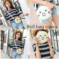 roll bag round tas sling mini baymax big hero ciyara emoticon korea