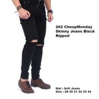 Jual celana jeans hitam cowok pria ripped /celana sobek jeans hitam panjang Murah