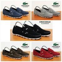 sepatu casual crocodille kerja kantor pria hitam abu biru merah