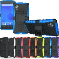 rugged LG NEXUS 5 bumper armor hard+soft case cover stand