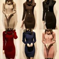 Jual knitted turtleneck dress for women's Murah
