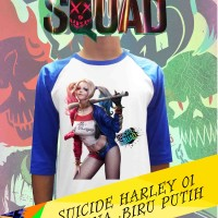 Pakaian Raglan Kaos Distro Movie Suicide Squad Harley Quinn