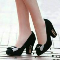 sepatu high heels wedges pantofel hitam pita mute sepatu kerja   pesta c40dd5bcc7