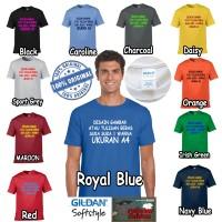 Kaos Baju Gildan Custom Desain Bebas Suka-suka Tulisan 1 warna Uk A4