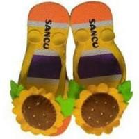 Jual sandal sancu boncu bunga matahari kuning flat rate semua ukuran Murah