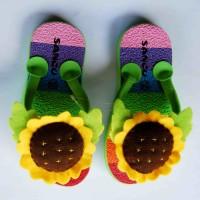 Jual sandal sancu boncu bunga matahari hijau flat rate semua ukuran Murah