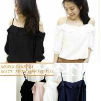 Mergi sabrina ro] pakaian wanita blouse sabrina atasan wanita korea