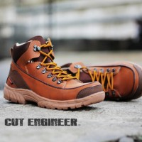 Cut Engineer Shoes Safety Boots Iron Suede Leather Soft Brown