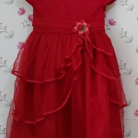 gaun pesta bayi perempuan merah dres DRESS BAJU PESTA ANAK BRUKAT ROSE