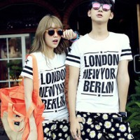 CP LONDON NEWYORK BERLIN PUTIH Kaos Couple (Harga Sepasang)