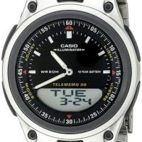 AW80D-1 jam tangan pria CASIO ori stainless steel layar hitam garansi