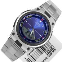AW80D-2 jam tangan pria formal CASIO ori stainless steel layar biru