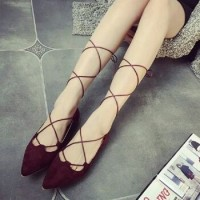 harga Sepatu Flat Ballet Ballerina Tali Panjang Bludru Maroon-Black 0284 Tokopedia.com
