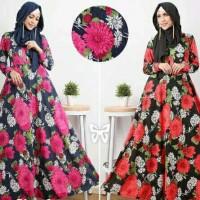 gamis katun jepang/rok tunik/motif bunga/hijab flowy/baju muslim/dres