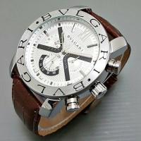 Jam Tangan Pria Bvlgari Matic / Otomatis Silver - Kulit Coklat