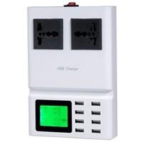 USB Charger 8 Port and 2 Plug Stop Kontak with LCD Display YC-CDA10