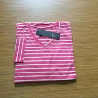 Kaos polos stripe v neck pink / kaos polos kerah v pink