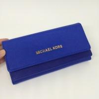 Tas dompet wanita cewek branded Michael Kors MK flip wallet Biru