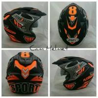 Helm 2 kaca (Double Visor) Murah Black doff Orange Sport DMN
