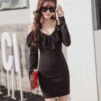 A30058 - Sexy Sabrina Low V-Neck S M L Black Import Cotton Dress