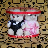 Jual Boneka Wedding Couple Teddy Bear Putih + Box Mika |Souvenir Pernikahan Murah