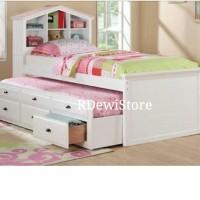 Tempat tidur, dipan, ranjang, sorong putih, dipan anak minimalis laci