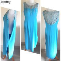 Jual murah long dress baju pesta mewah bordir brokat warna aqua biru Murah