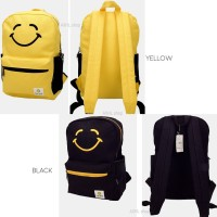 Keep Smiling Canvas Backpack Tas Punggung Resleting Kanvas Lucu Murah