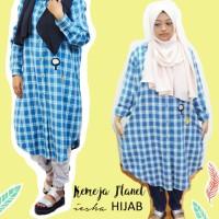 Kemeja Wanita big size Flanel Biru dengan Patch, Tunik, Hijab, Busui