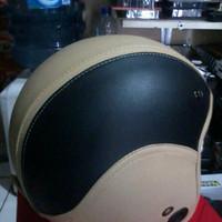 DISKON helm retro bogo coklat krem full kulit TERLARIS
