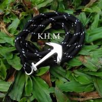 Jual Gelang Tali Prusik / Paracord Bracelet Hitam Motif putih Murah