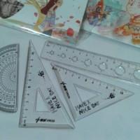 Penggaris 4 in 1 busur segitiga penggaris panjang