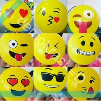 balon emoticon emoji emotikon smile kuning latex party pesta