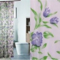 Shower curtain purple flower / tirai kamar mandi bunga ungu / gorden