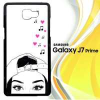 black and white girl love music L0829 Casing HP Samsung Galaxy J7 Prim