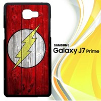 Flash SUperhero Logo on Wood Z1692 Casing HP Samsung Galaxy J7 Prime
