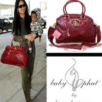 Baby Phat Diaper Bag Faux Croco Red