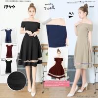 Midi sabrina dress wanita selutut model A-Line body dress 9917