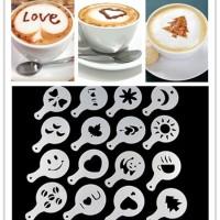16 set cetakan kopi Kue coffee printing cappuccino latte mold Bento Ok