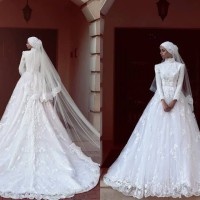 wedding gown brokat putih baju pengantin berekor gaun pengantin muslim
