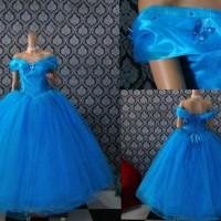 gaun pengantin cinderella baju pengantin biru wedding gown bahan satin