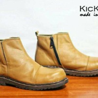 Jual Sepatu Boots Pria Kickers Boot Safety BRV Tan Brown Buck Leather Murah