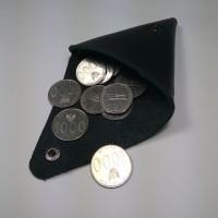Dompet Koin Unik Segitiga Bahan Kulit Asli Warna Hitam   Coin Wallet