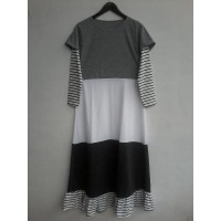 MODEL Dress Baju Muslim 3 Color Block Garis Putih MOTIF TERBARU