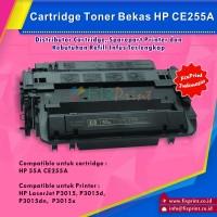 Cartridge Toner Bekas CE255A 55A, Printer HP LaserJet P3015, P3015d