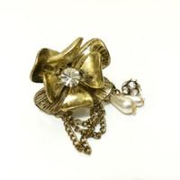Cincin Bunga Gold Emas Klasik Simple Choker Bali Etnik Korea Mutiara
