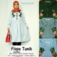 Flopa Tunik katun import fit L atasan wanita blouse muslim